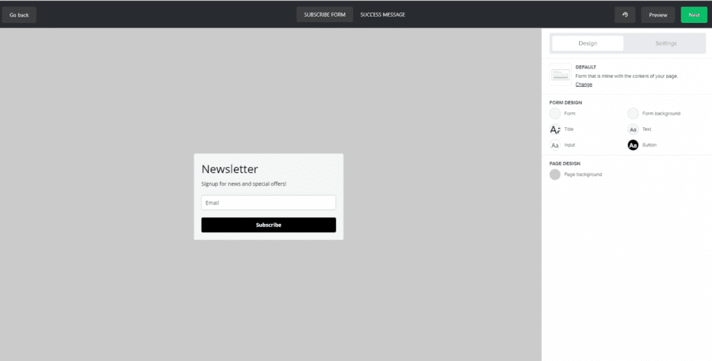 designing a sign up form in mailerlite