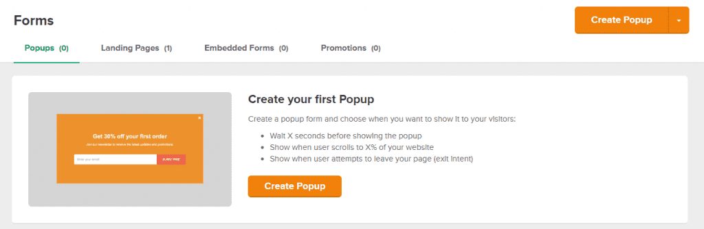 popup forms within mailerlite