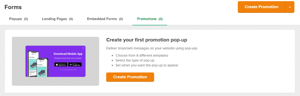 promotions popup feature within mailerlite